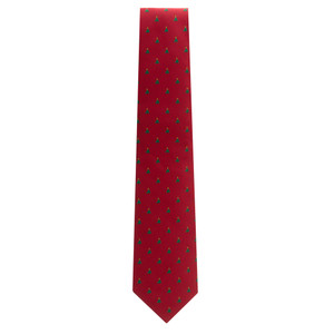 Christmas Trees on Red Necktie