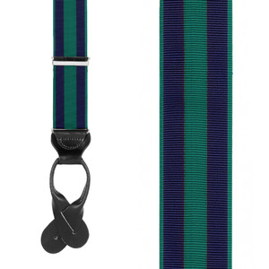 Navy/Hunter Striped Grosgrain Button Suspenders - Front View