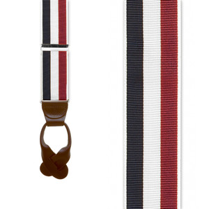 Grosgrain Button Suspenders in Red, White & Blue Stripes - Front View