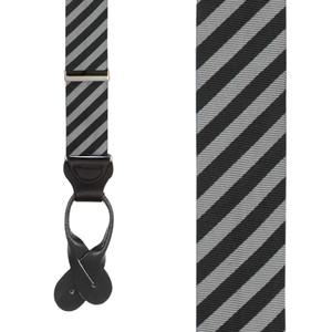 Silk Striped Suspenders in Black & Grey - Front View