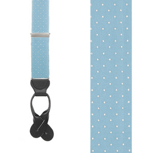 Polka Dot Silk Suspenders - Sky Blue with White Polka Dots - Front View