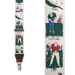 Vintage Ribbon Golf Talk Suspenders - Front View