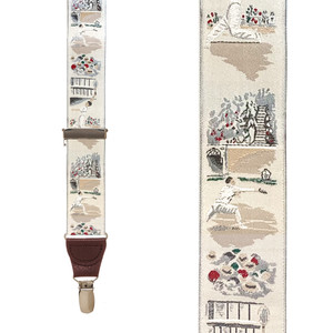 Vintage Ribbon Match Point Suspenders - Front View