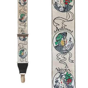 Vintage Ribbon Four Seasons Suspenders - Front View