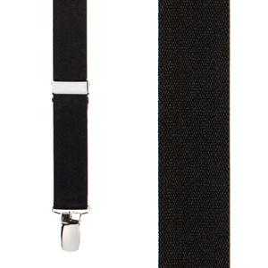 1 Inch Wide Clip X-Back Suspenders in Black - Front View