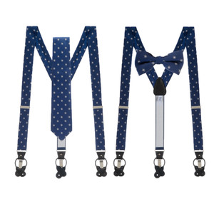 Tie and Suspenders Sets in Navy Snowflake