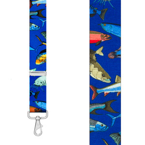 MIXED FISH 1.5-Inch Wide Trigger Snap Suspenders - Front View