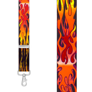 ORANGE FLAMES 1.5-Inch Wide Trigger Snap Suspenders -Front View