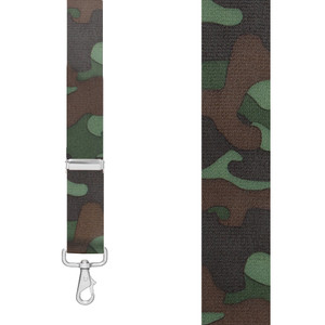 CAMO WOODLAND 1.5-Inch Wide Trigger Snap Suspenders - Front View