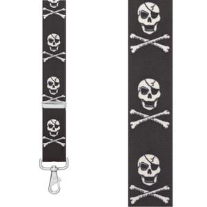 CROSSBONES 1.5-Inch Wide Trigger Snap Suspenders - Front View