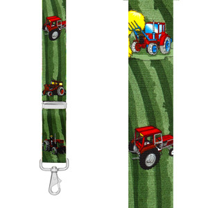RED TRACTOR 1.5-Inch Wide Trigger Snap Suspenders - Front View