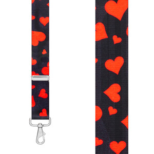 HEARTS 1.5-Inch Wide Trigger Snap Suspenders - Front View