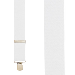 2 Inch Wide Pin Clip Suspenders in White - Front View