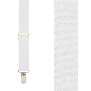 1-Inch Small Pin Clip Suspenders in White - Front View
