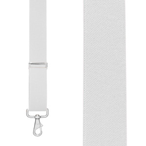 1.5 Inch Wide Trigger Snap Suspenders in White - Front View