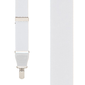 1.25-Inch Elastic Y-Back - Small Pin Clip in White - Front View