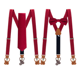 Tie and Suspenders Sets in Red & Navy Polka Dot Pattern