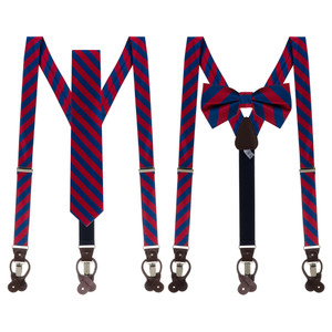 Tie and Suspender Sets in Red & Navy Bold Stripe - Both Options
