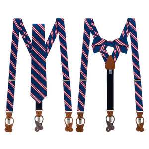 Tie and Suspenders Sets in Navy & Red Multi Stripe - Both Options