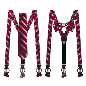 Tie and Suspender Sets - Red & Navy Multi Stripe by Oxford Kent