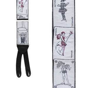 SILVER JOKER Limited Edition Handwoven Silk Braces - Front View