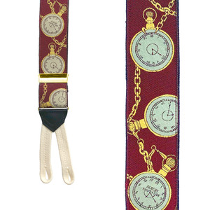 POCKET WATCH Limited Edition Handwoven Silk Braces - Front View