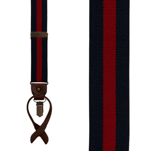 Tommy Hilfiger Navy & Red Striped Convertible Suspenders - NAVY & RED