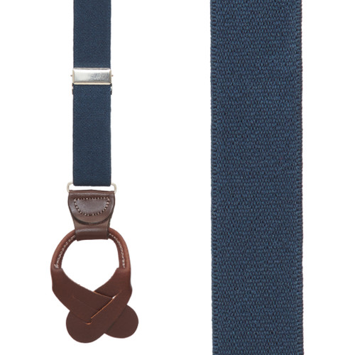 1.25 Inch Wide Button Suspenders in Navy with Brown Leather - Front View