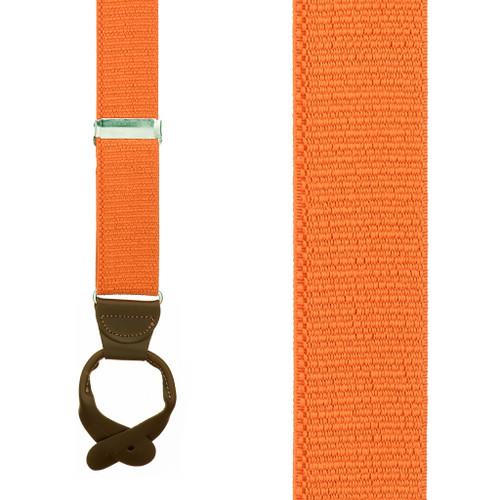 1.5 Inch Wide Button Suspenders in Orange - Front View