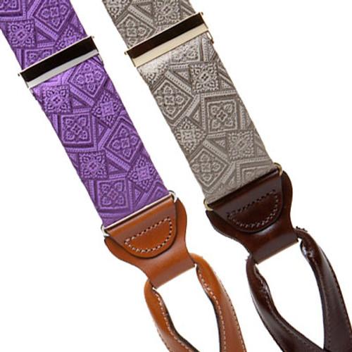 Silk Venetian Squares Suspenders - Button - Front View