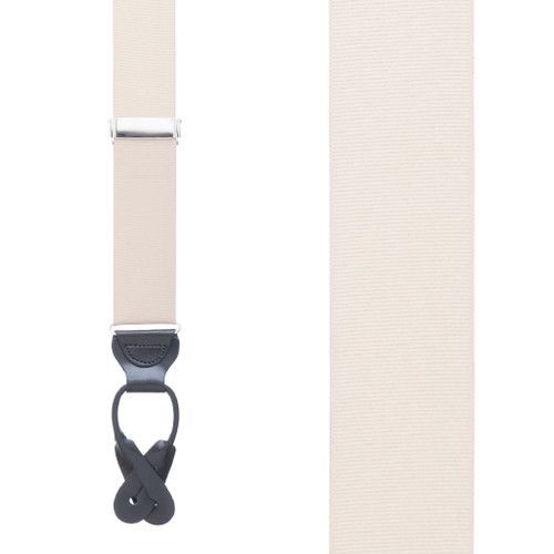 Grosgrain Button Suspenders - Ivory