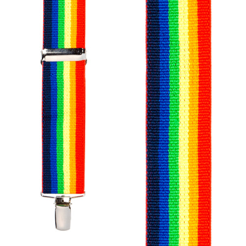 Front View - Rainbow Striped Clip Suspenders - 1.5 Inch Wide, Clip