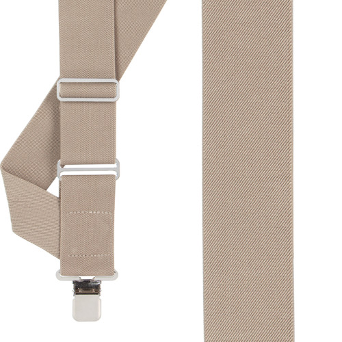 Tan Side Clip Suspenders - Construction Clip - Front View