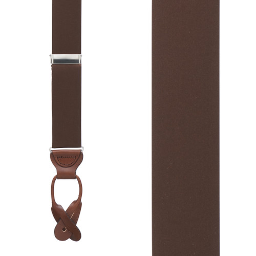 BROWN Bangkok Silk Suspenders - Button - Front View