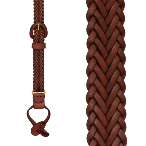 Geoffrey Beene Braided Leather Button Suspenders - TAN - Front View