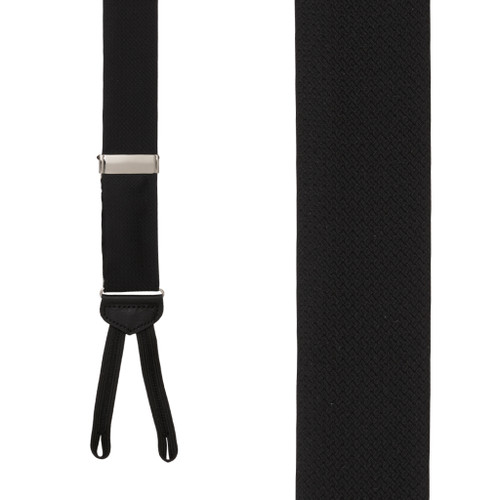 Jacquard Silk BLACK Basket Weave Suspenders - Runner End - Front View