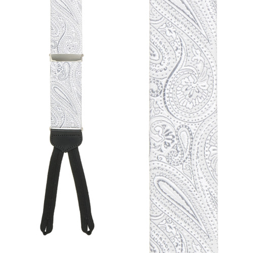 Silver Formal Paisley Silk Suspenders - Runner End - Front View
