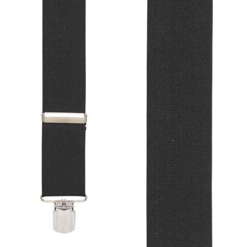 2-Inch Wide Pin Clip Suspenders - BLACK - Front View