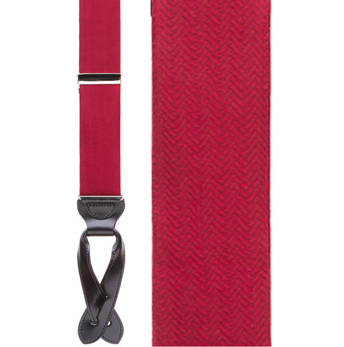 Red Herringbone Silk Suspenders - Button - Front View