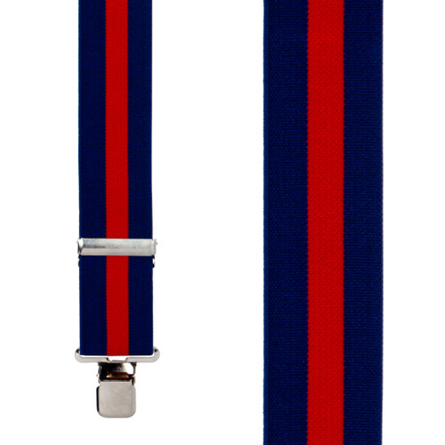 Classic Suspenders - Front View - Navy & Red Stripe