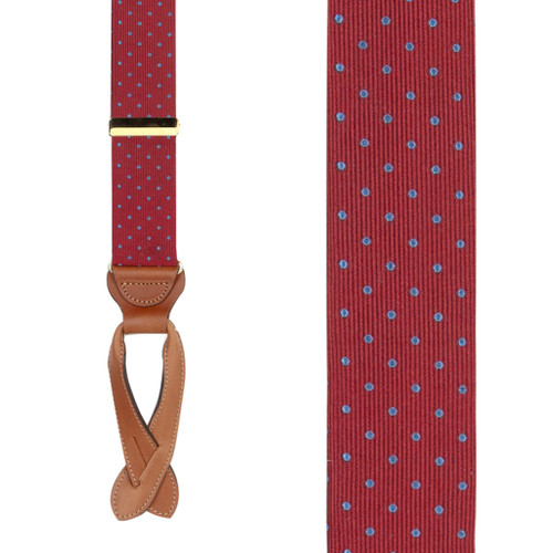 Polka Dot Silk Suspenders - Light Blue on Burgundy - Front View