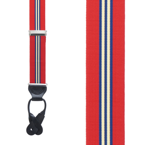 Grosgrain Button Suspenders - Red Thin Stripe Front View