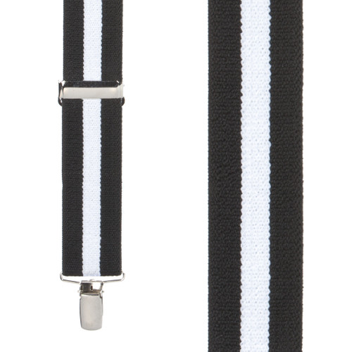 Front View - Black/White Striped Clip Suspenders - 1.5 Inch Wide