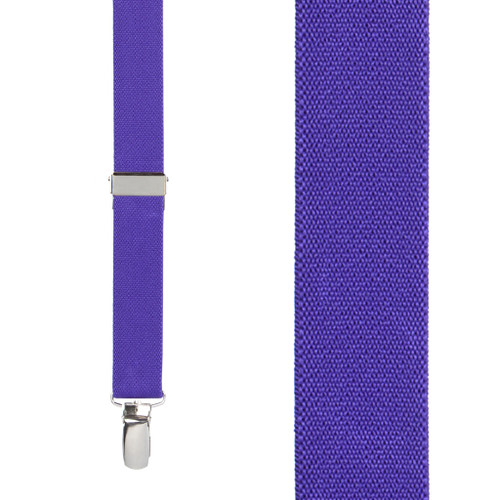 1 Inch Wide Clip X-Back Suspenders in Puple - Front View
