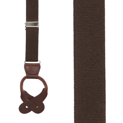 1 Inch Wide Button Suspenders in Brown - Front View