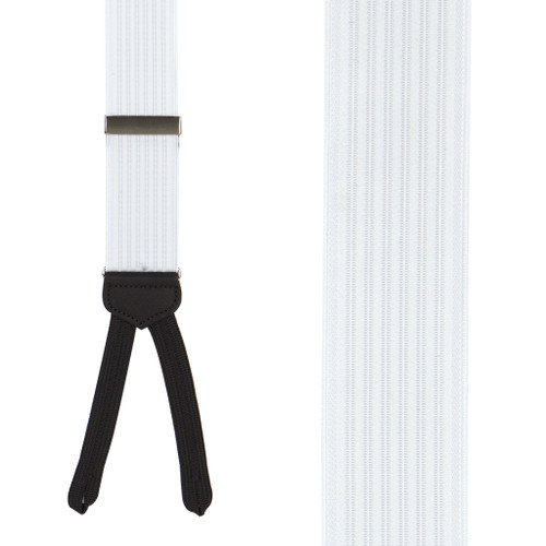 Formal Ribbed Suspenders in White - Front View