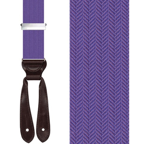 Silk Herringbone Button Suspenders in Purple - Front View