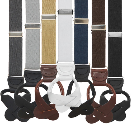 1 Inch Wide Button Suspenders - All Colors