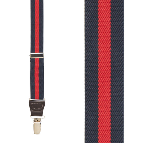 Striped Y-Back Brown Leather Suspenders in Navy/Red - Front View