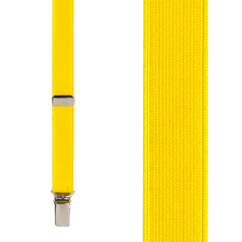 Bright Gold Satin Suspenders Front View
